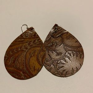 Jewelry - Leather Tooled Earrings Western Cowgirl
